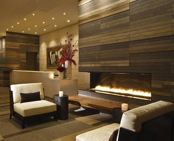 Contemporary Living Room Fireplace Ideas Accent Wall Linear