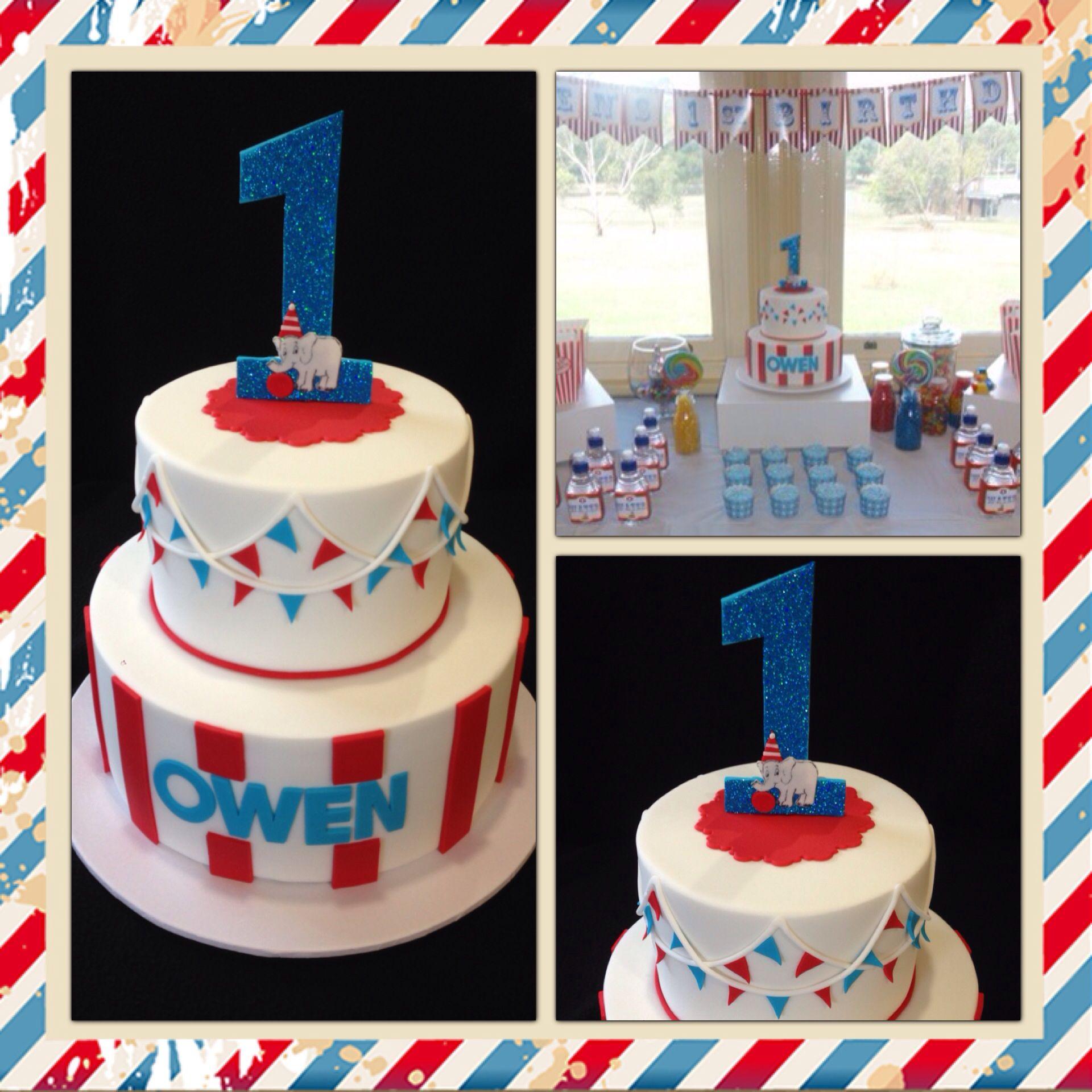 Circus Themed 1st Birthday Cake Made By @sweetsbysuzie