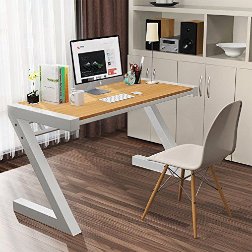 Computer Desk Tribesigns Z Shaped Office Desk Workstation With Metal Legs Works As Office Desk Study Table Or Writing Desk Simple Modern Style Perfect For Industrial Design Furniture Office Space Design