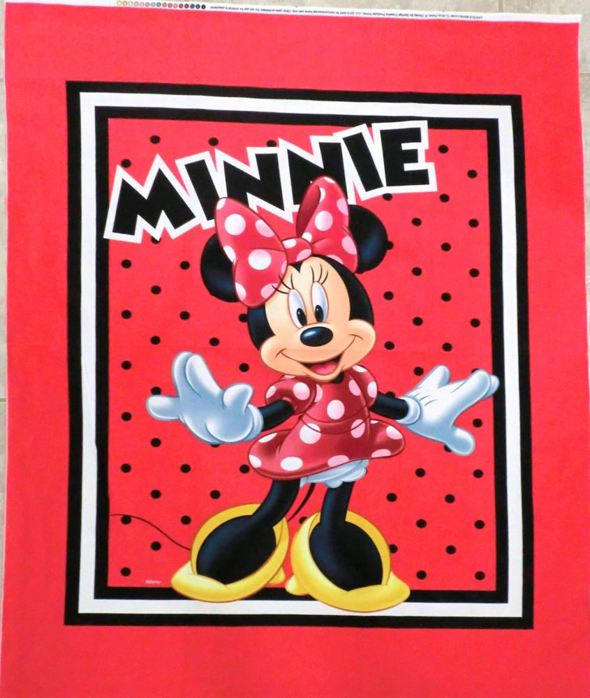 Minnie mouse fabric panel quilt top wallhanging minnie loves to ... : minnie mouse quilt panel - Adamdwight.com