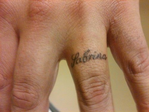 e360f4a4f tattoo your loved one's name on your ring finger... That has got to ...