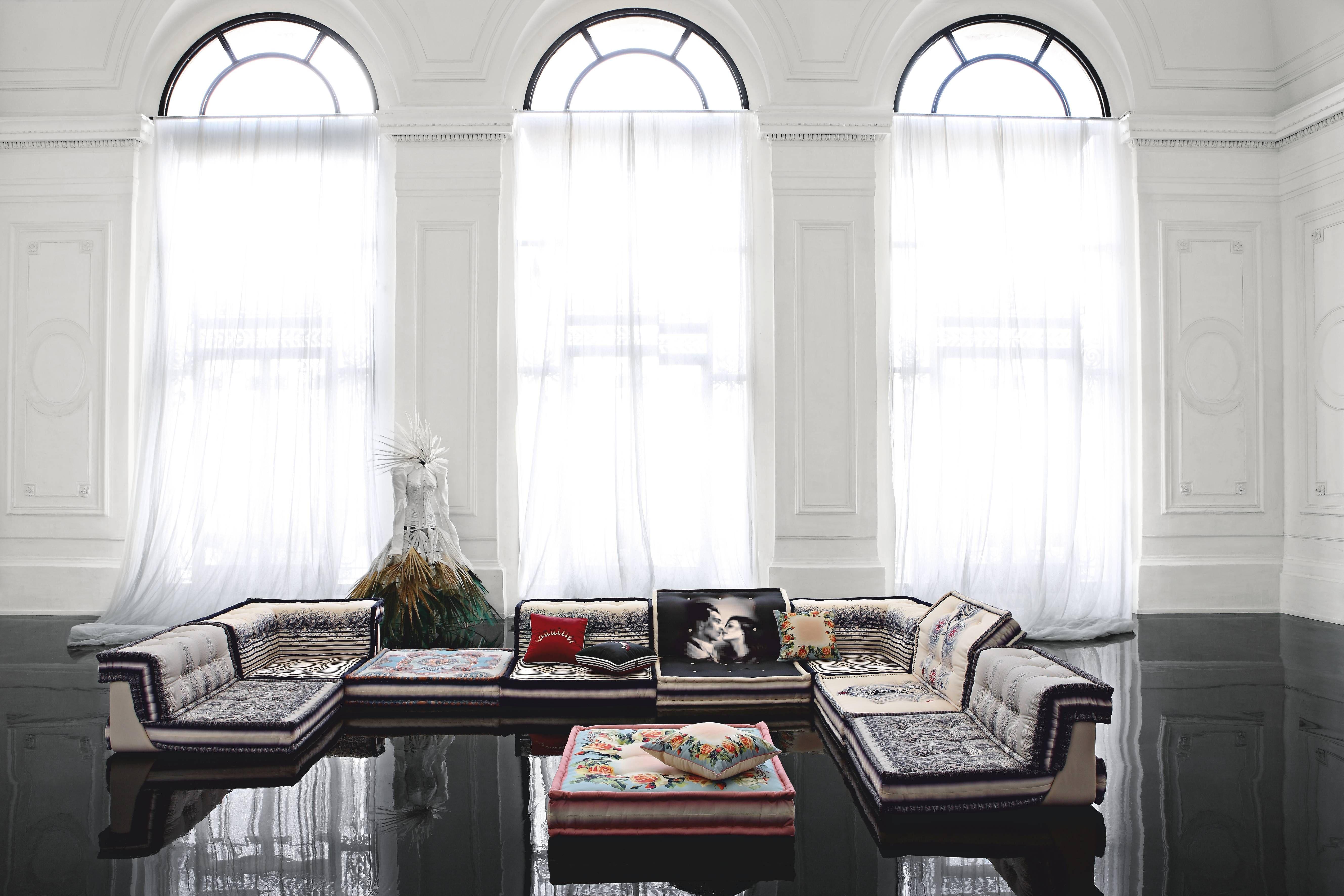 Roche Bobois MAH JONG COUTURE modular sofa dressed by Jean Paul