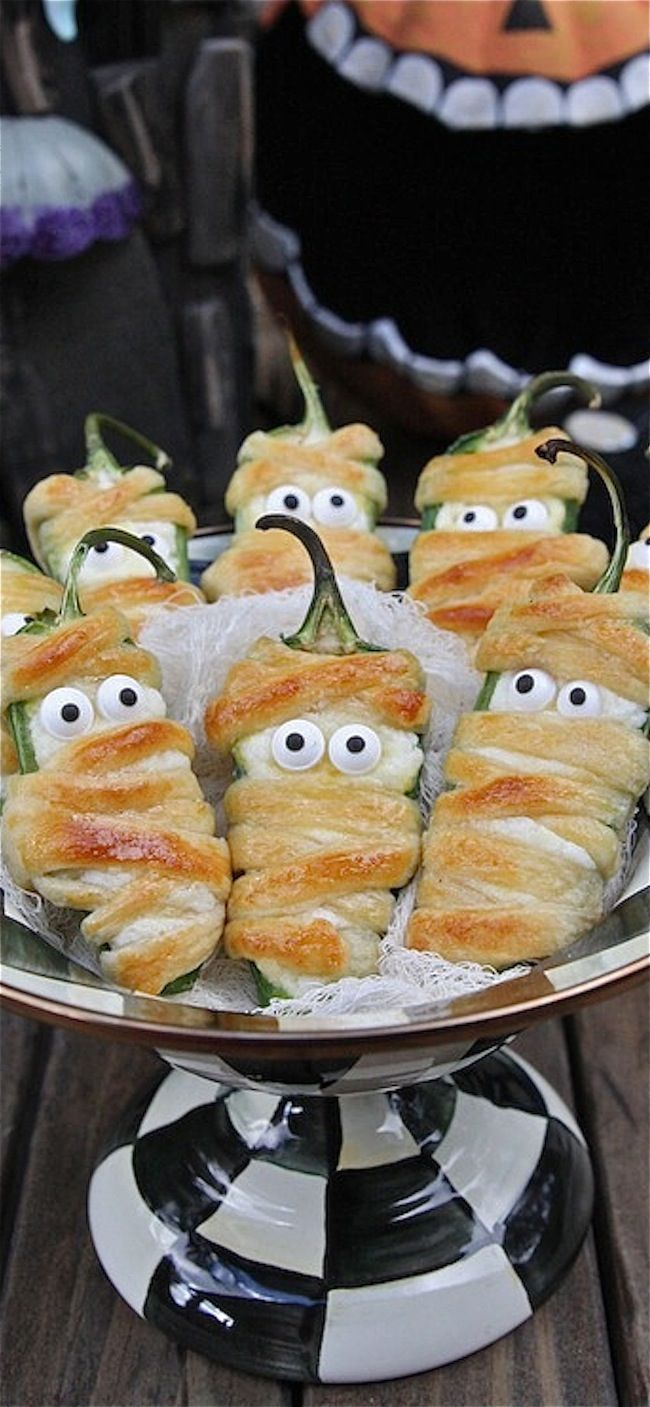 jalapeño popper mummies, halloween appetizers, halloween snacks ...