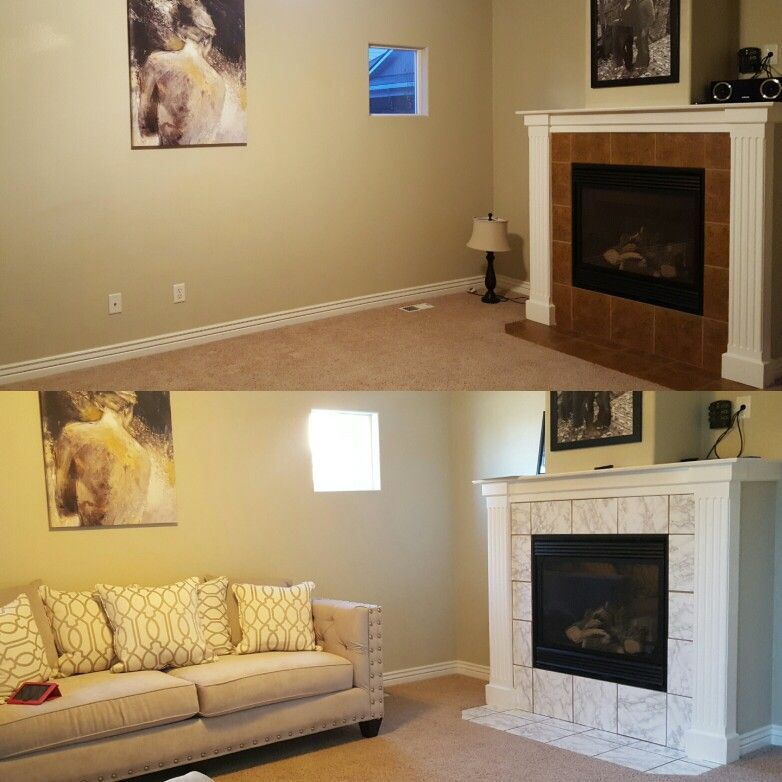 Small Fireplace Makeover With Contact Paper For When Your On A