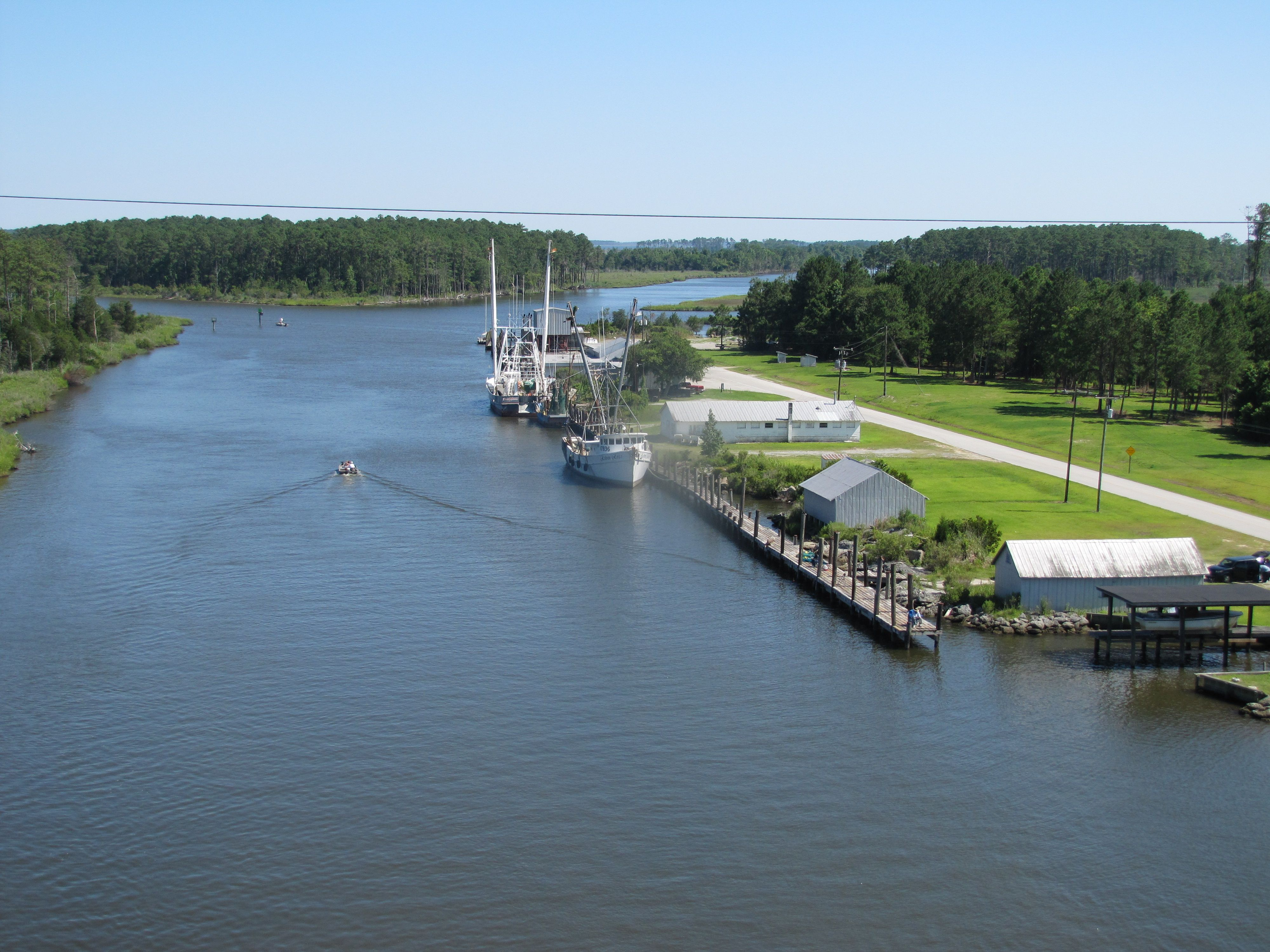 hobucken nc shrimp boats at the dock high rise bridge from the intracoastal waterway from high rise bridge hobucken nc