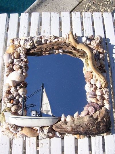 Graphic seashell decorated mirror.