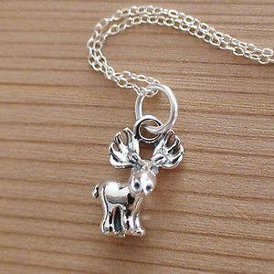 Moose Charm Necklace 925 Sterling Silver New Moose Necklace Elk Deer Canada | eBay