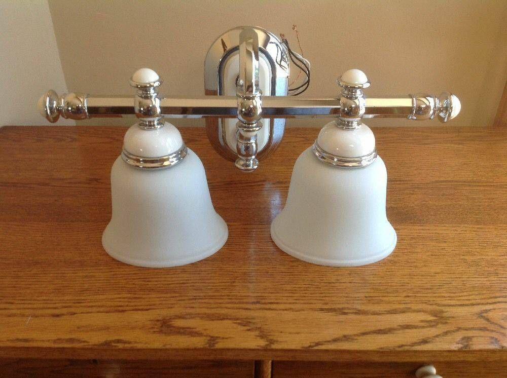 2 Bulb White Porcelain Chrome Bathroom Light Fixture Bathroom