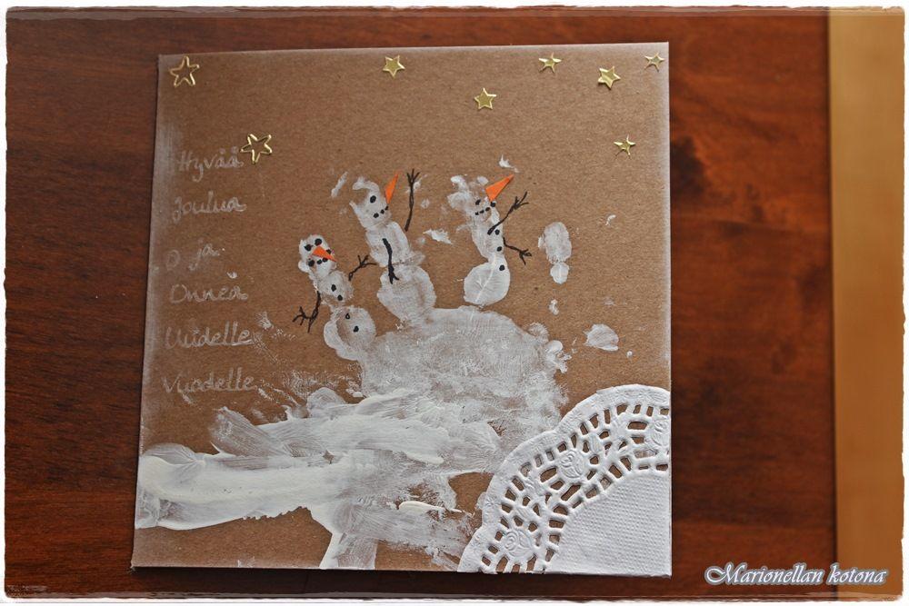 Marionellan kotona : DIY joulukalenteri -Luukku 5 Lumiukkoiset joulukortit lapsen kanssa tehden.