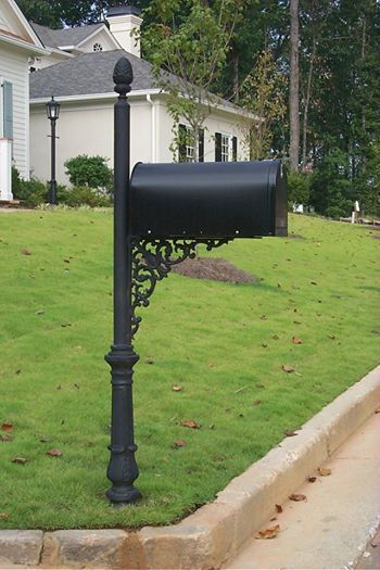 Custom mailbox post artistic wrought iron pinterest for Unique mailboxes with post