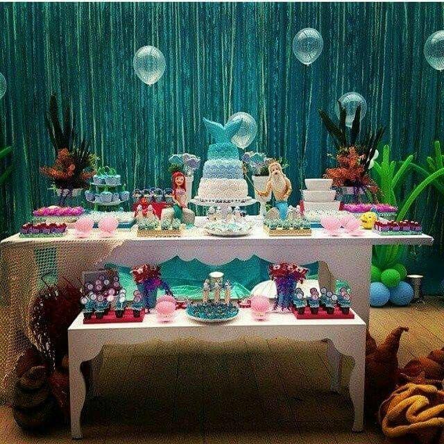 Mesa de postre de la sirenita fiestas pinterest - Decoracion mesas fiestas ...