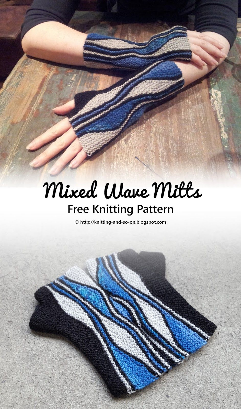 Free knitting pattern for fingerless gloves with a wavy short row ...