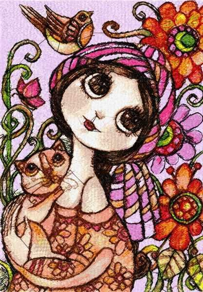 Young woman with cat photo stitch free embroidery design - Photo stitch embroidery - Machine embroidery community