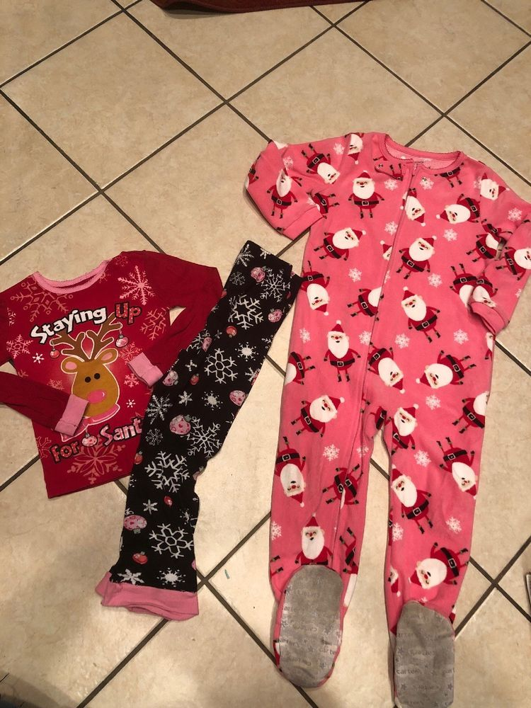 7f32990366d0 Carters 5T Girls Sleeper Footed Pajamas Reindeer Holiday time 2 Pc ...