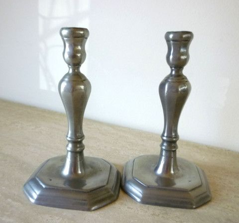 Vintage Pewter Candle Holders Candlestick Home Décor