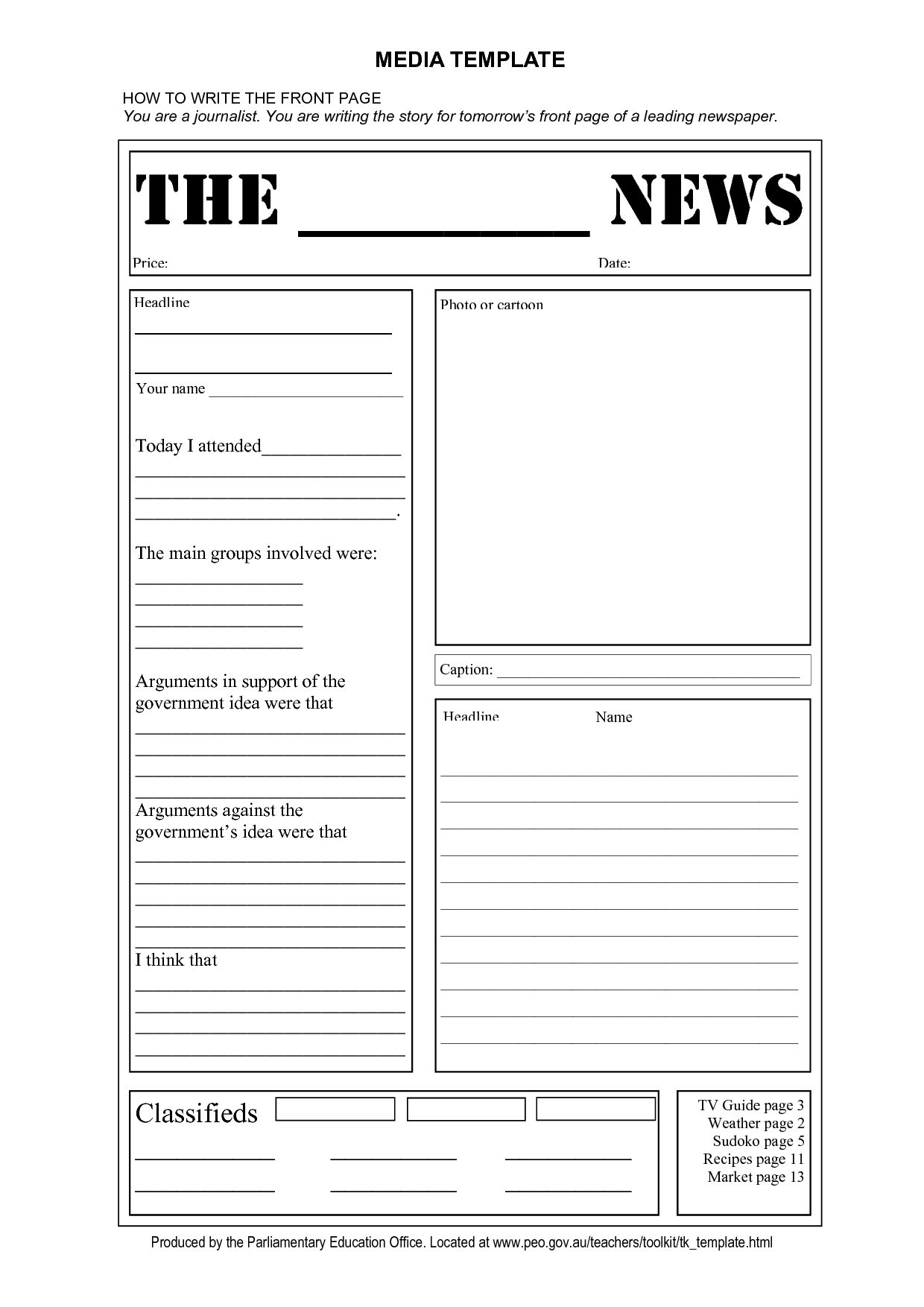 Newspaper Front Page Template Doc