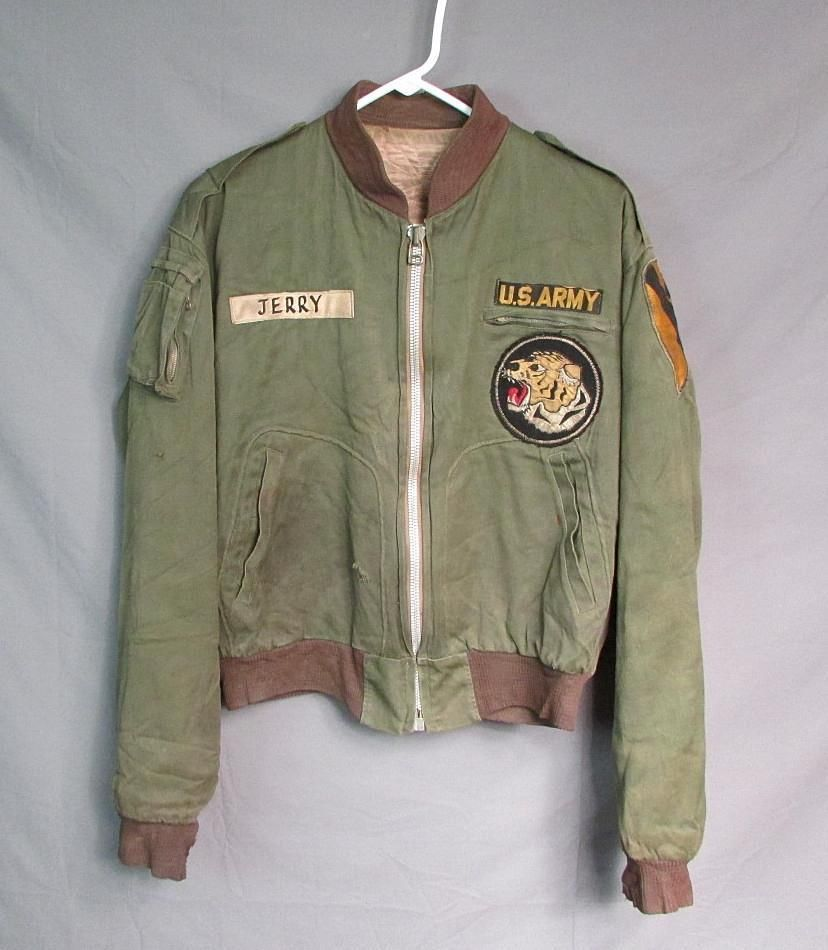 81df9dea1a1 Vintage 1950s US Army Flight Jacket Korean War Tiger Patch Bomber Tanker  RARE