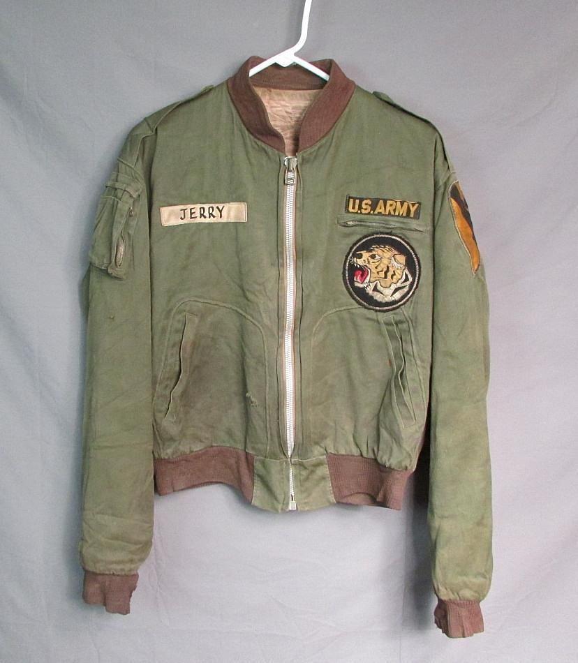 Vintage 1950s US Army Flight Jacket Korean War Tiger Patch Bomber ...