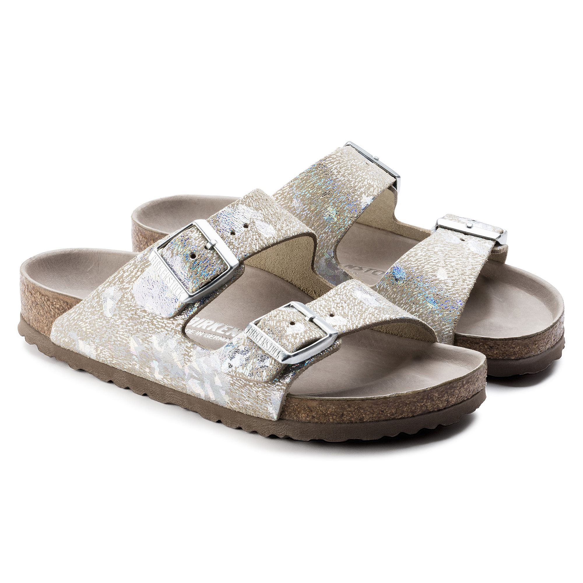 b2dcafd8f0f6 Arizona Natural Leather Exquisite Spotted Metallic Silver