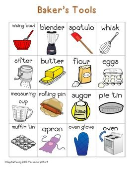 Baker S Themed Vocabulary Word Chart Writing Station