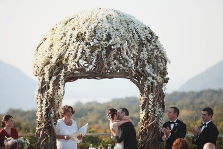 White Flower and Wood Ceremony Arch