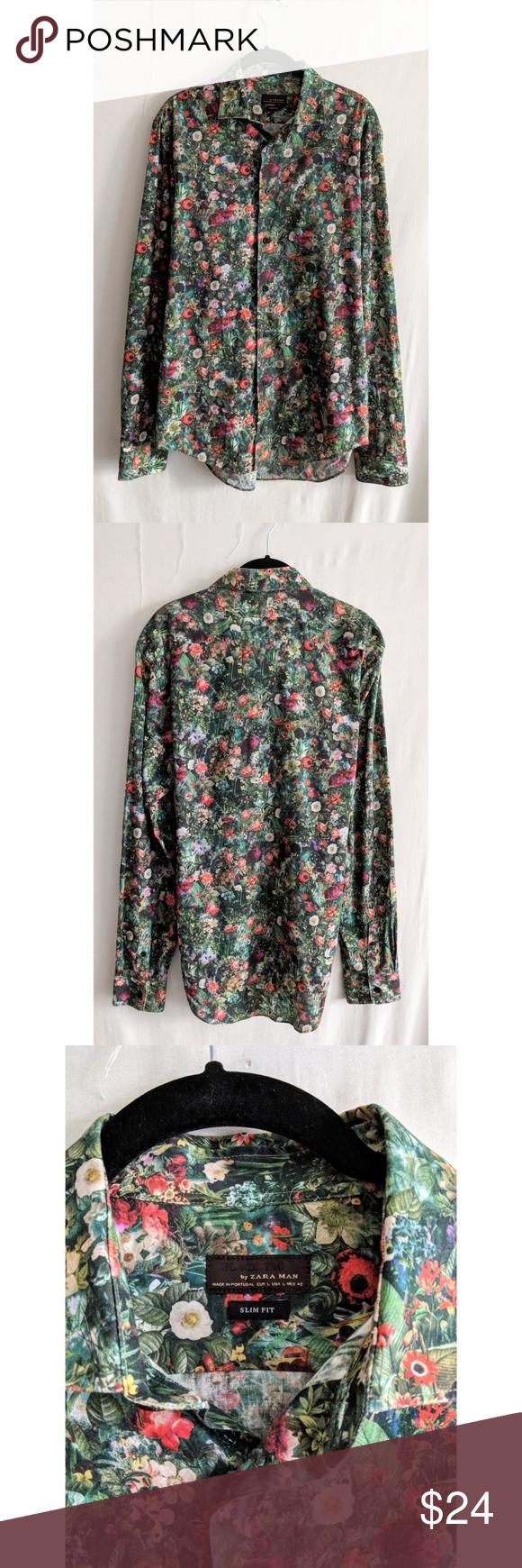 2e2ee8395f1b Zara Floral Print Slim Fit Button Up Shirt Zara men Black Tag slim ...