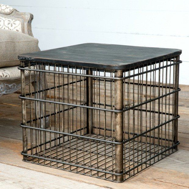 Fabulous Wire Wood Top Storage Crate Accent Table In 2019 Crate Machost Co Dining Chair Design Ideas Machostcouk