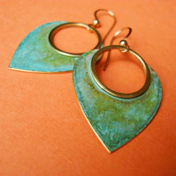 Mini tribal petals, hammered brass with verdegris patina, 14k gold filled earwires