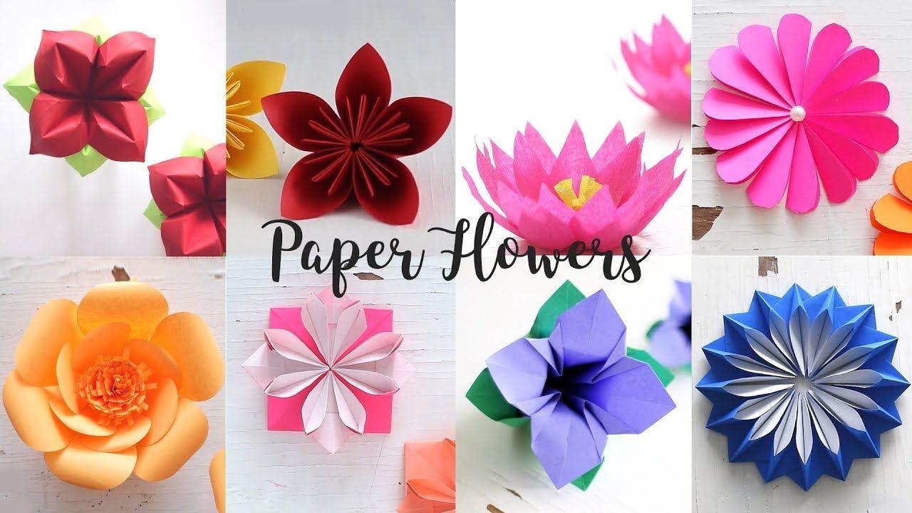 8 Easy Paper Flowers Youtube Paper Flowers Diy Paper Flowers