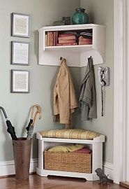 Great way to maximize the corner by the front door.  corner cupboard above can be used for gloves/hats/etc