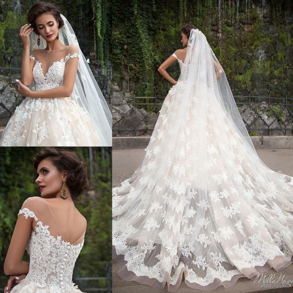 Vestidos de novia Real Image Milla Nova apliques de encaje vestido ...