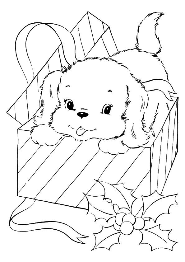 The A Pup Coming Out Of A Christmas Gift A4 Jpg 595 842 Pixels Puppy Coloring Pages Christmas Present Coloring Pages Disney Coloring Pages