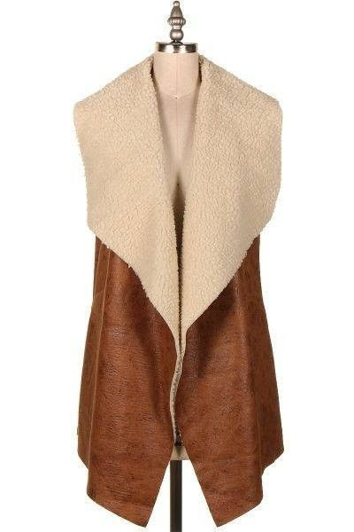 Camille furry lined vest in camel