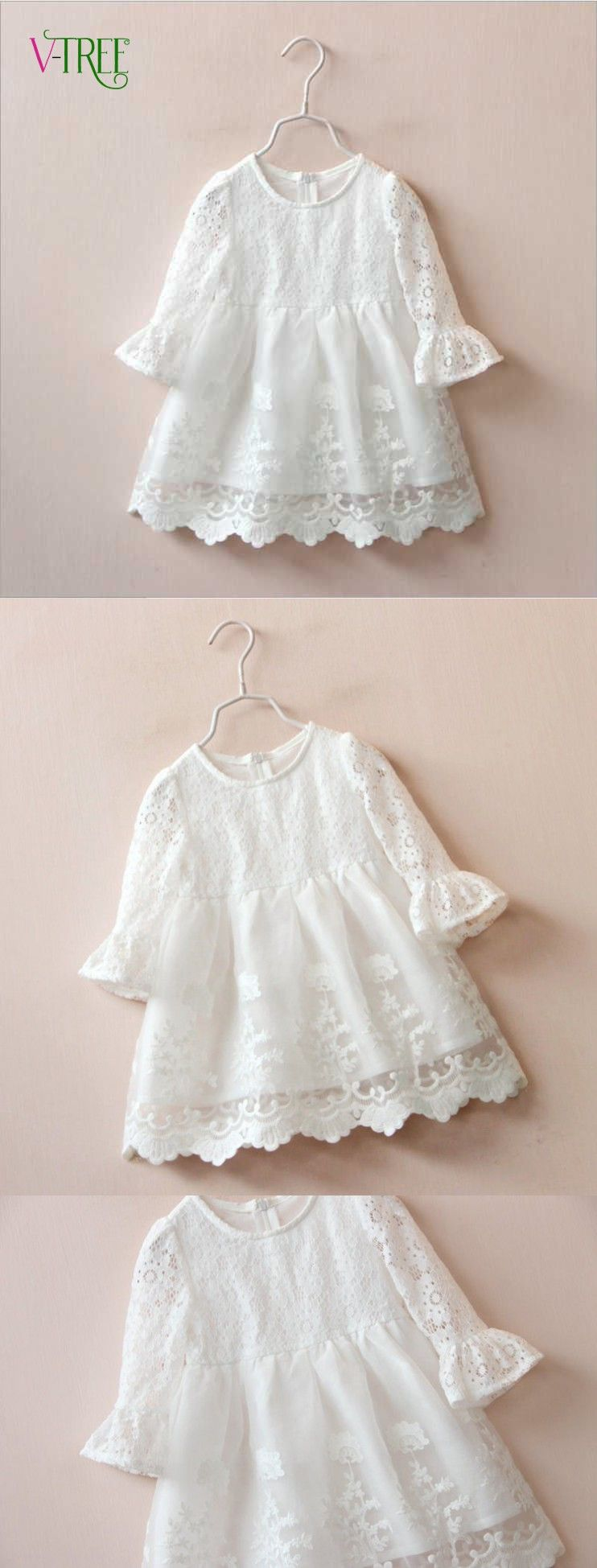 Fashion Baby Girls Princess Dress White Lace Girl Party Wedding Long Sleeve Kids Clothes Tops