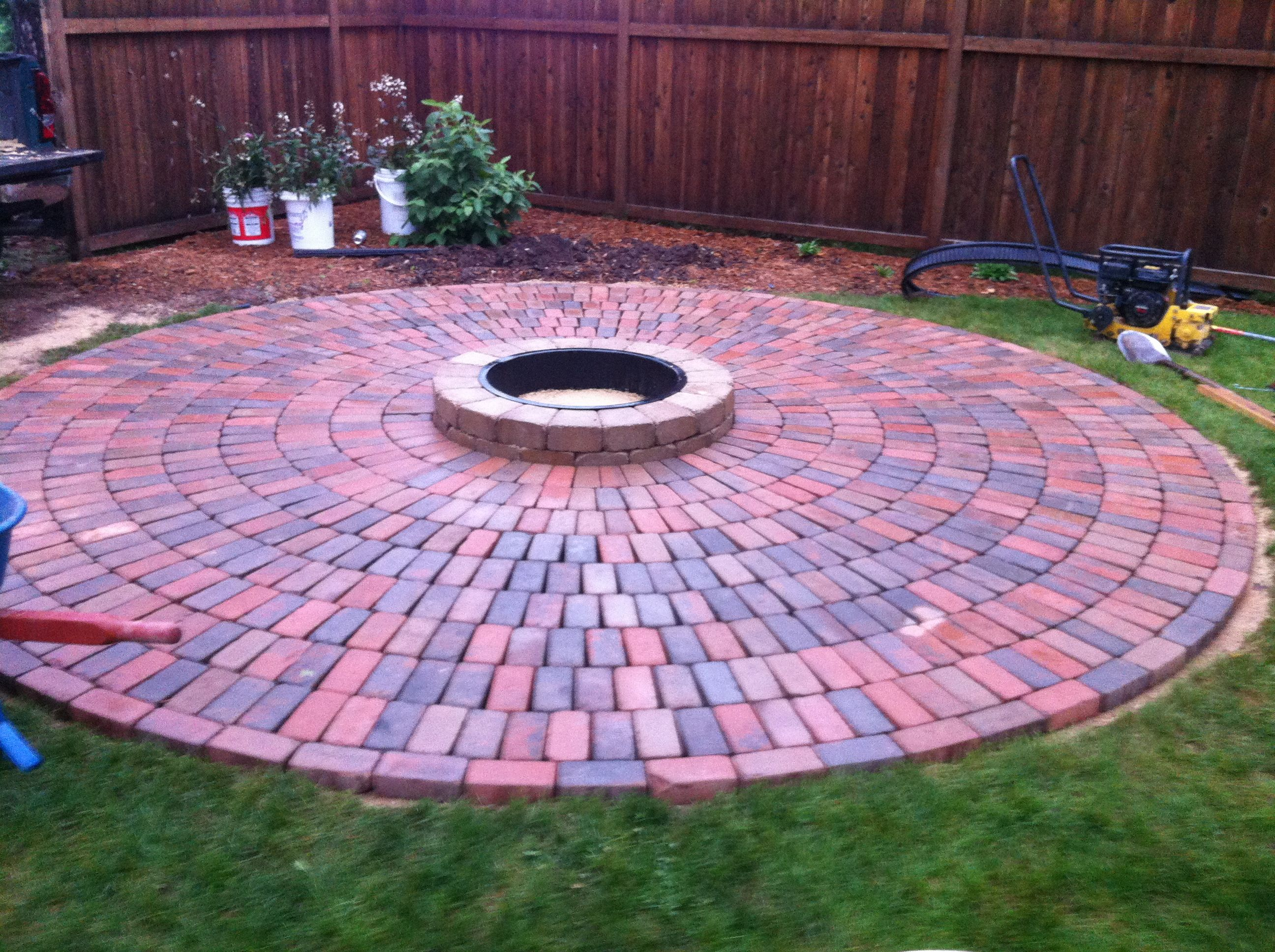 Fire pit made out of fly ash pavers | Landscapes ...