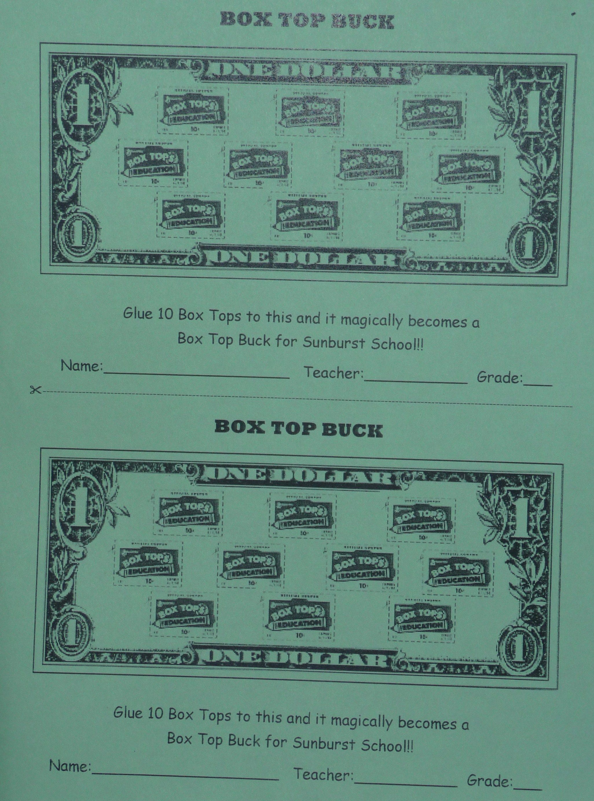 Our Updated Box Top Buck Collection Sheet We Love To Show The Kids How 10