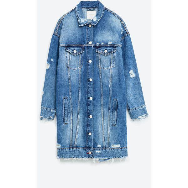 BLOUSON EN JEAN LONG ($55) ❤ liked on Polyvore featuring jackets, long jacket, blue denim jacket, blue jean jacket, long jean jacket and denim jacket