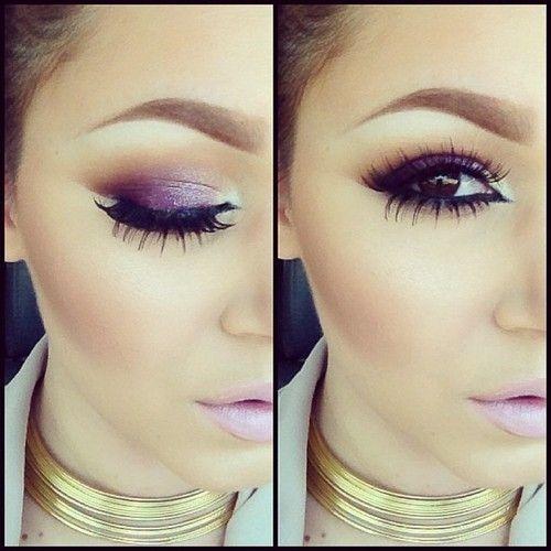 purple makeup look for brown eyes. Individual lashes? | Make-up ...