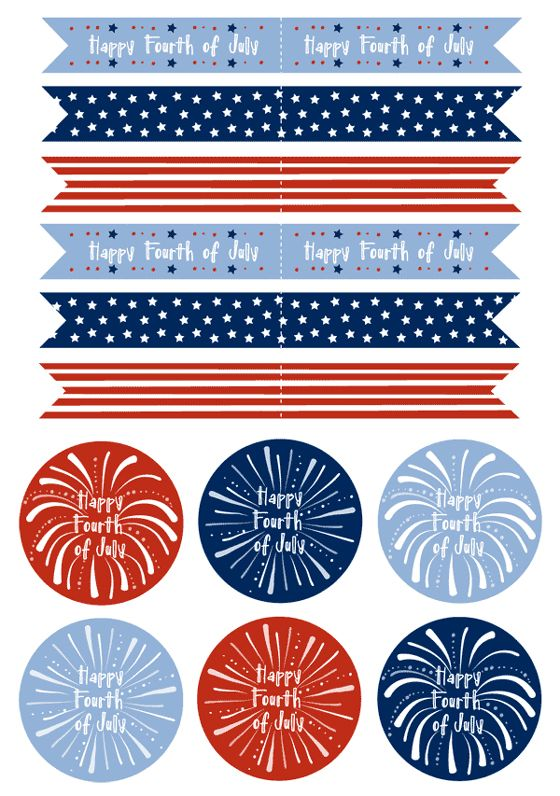 These Free Fun Fourth Of July 4th Printables Make Perfect Cupcake Toppers Just Use Avery Full Sheet Labels To P 4th Of July Fourth Of July 4th Of July Party