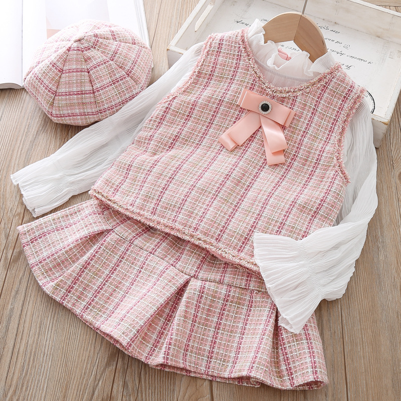 Fall Clothes Set Baby Girls High Quality 3 Pcs Clothing Suit Waistcoat Pleated Skirt Berets Hat Kids Outfits Outfit Sets Baby Sets
