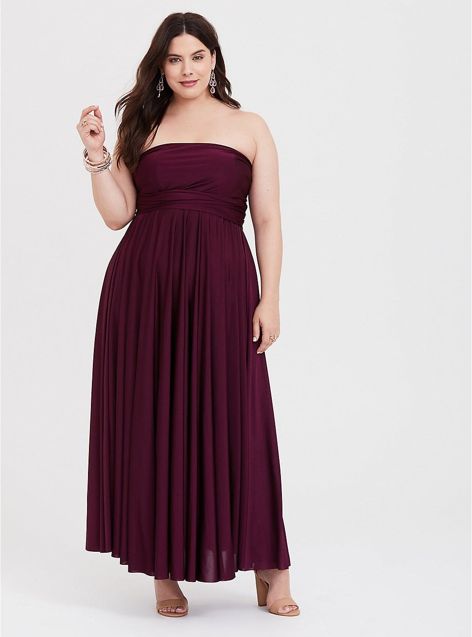 Special Occasion Burgundy Shiny Knit Convertible Maxi Dress ...