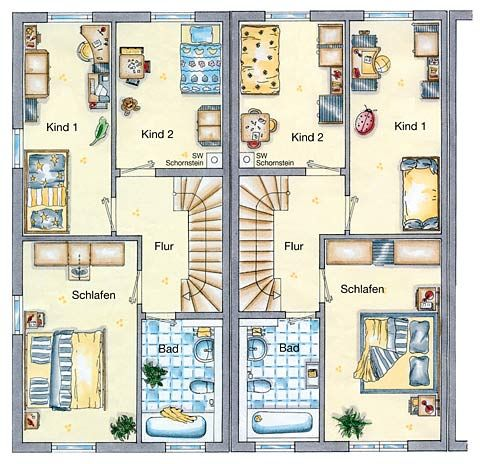 das reihenmittelhaus wiesbaden 130 grundriss obergeschoss ihr town country massivhaus. Black Bedroom Furniture Sets. Home Design Ideas