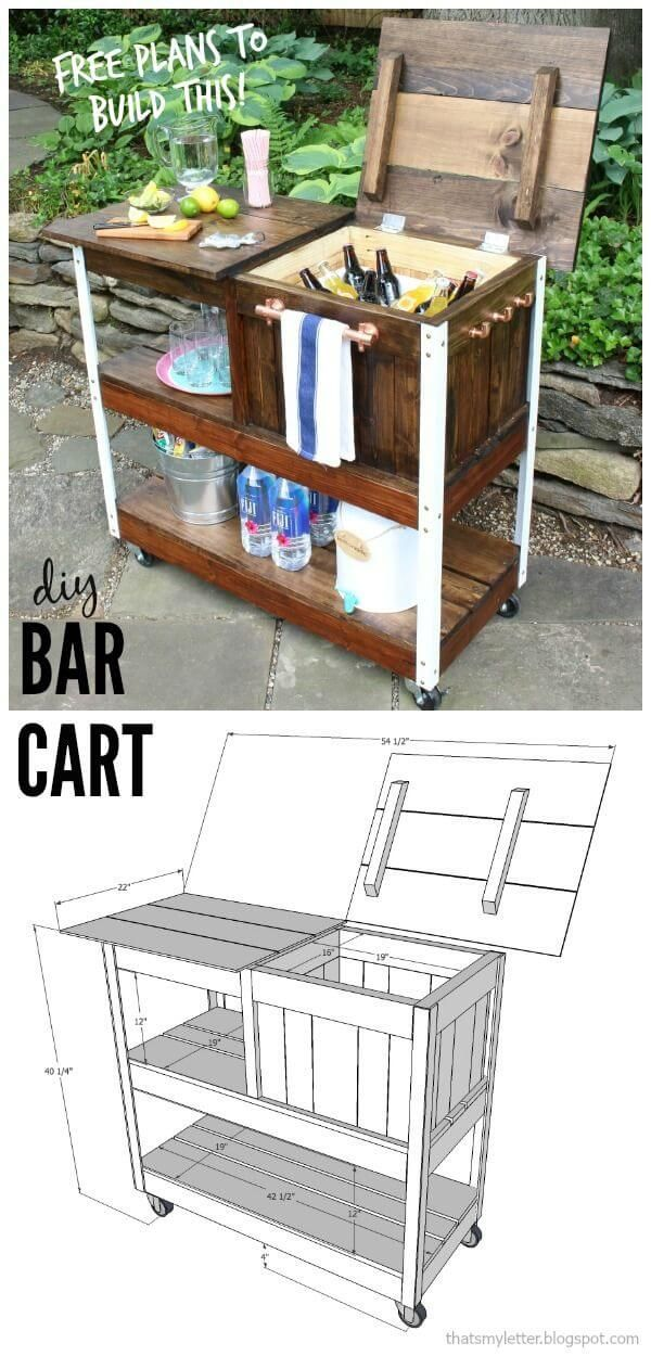 A Wooden Bar Cart With Storage Galore Diy Outdoor