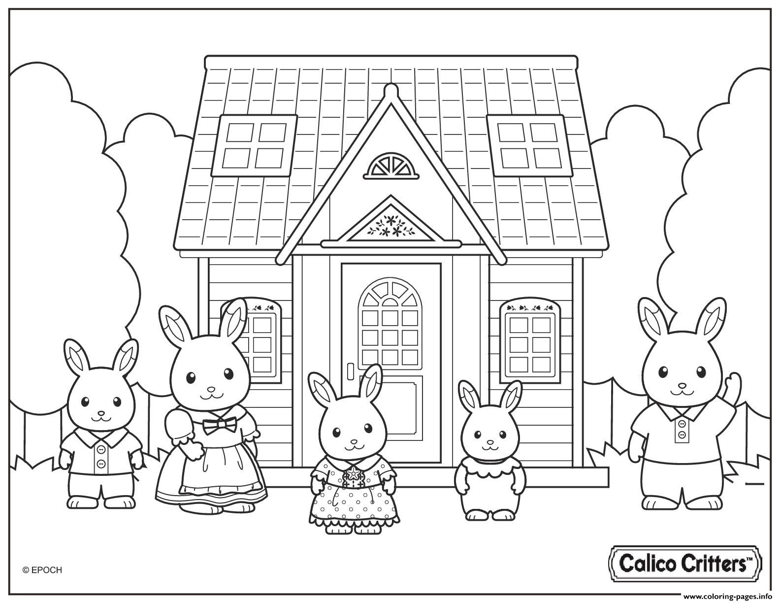 Calico Critters Cute Family Coloring Pages Family Coloring Pages