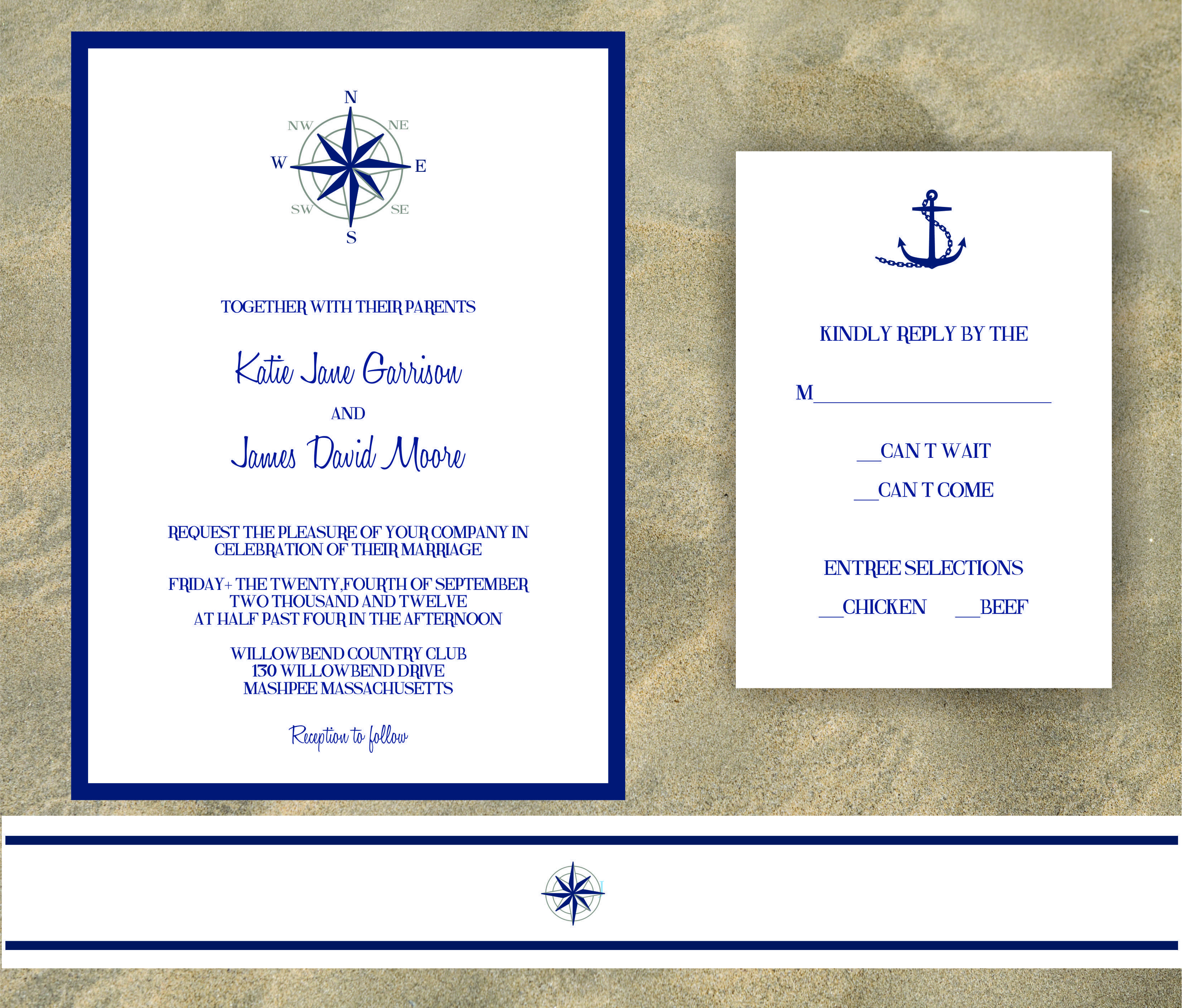 nautical wedding invitations with compass rose | Dulce Press ...