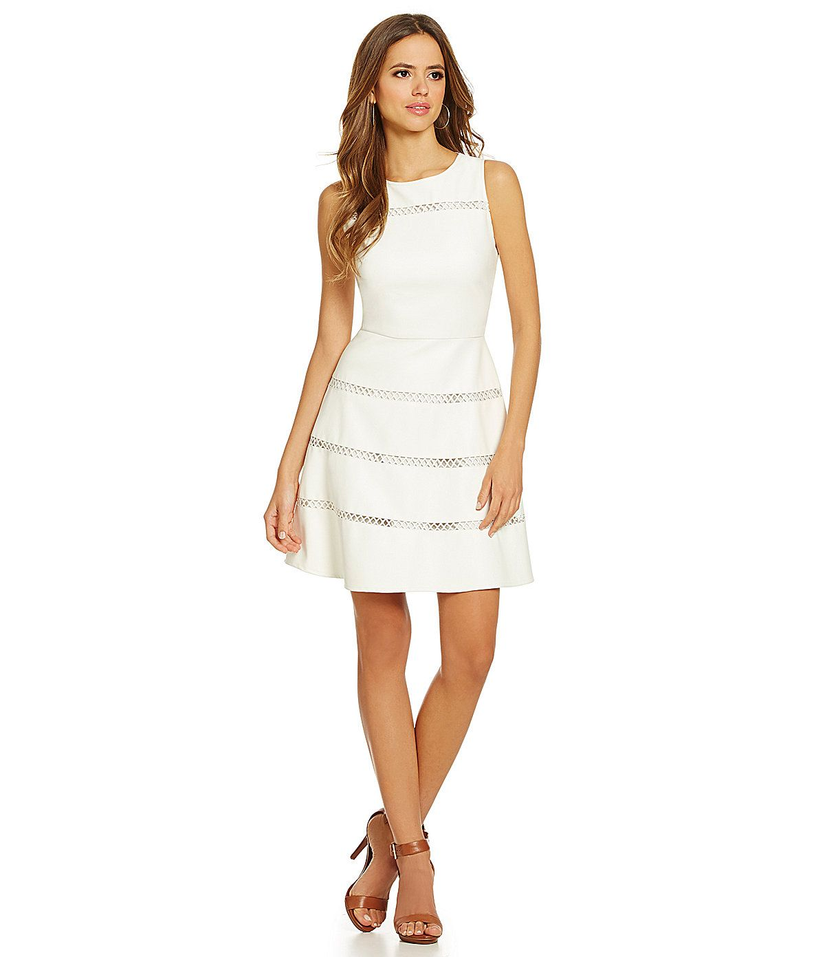 b2317baaa2b0 Gianni Bini Tera Crochet-Inset Faux-Leather A-Line Dress | Dillards.com