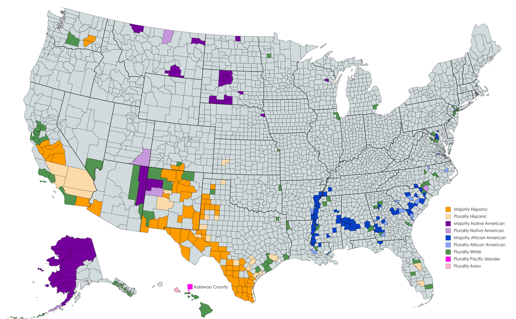 Us Counties Where Non Whites Make Up A Majority Of The Population Map Racial Historical Maps