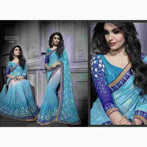 Irresistible Saree With Stunning Floral Resham-Embroidery and Zari-Work