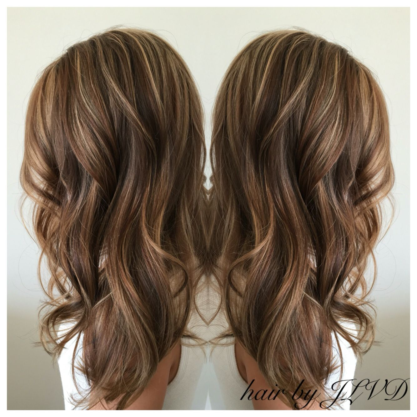 Highlight Lowlight Ideas Brunettes : Beautiful fall ready hair, brunette highlights and lowlights, loose curls Hair by JLVD ...
