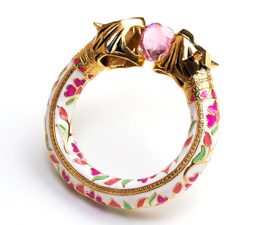 Manish Arora Amrapali collection Royal Bengal tiger amulet with enamel and semi-precious stones